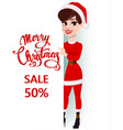 merry christmas greeting card pretty smiling vector image