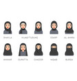 muslim women avatar set with islamic clothing name vector image