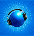 new 3d blue disco ball with headphone on star vector image vector image
