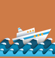 paper waves and cruise liner vector image