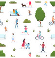 People in park seamless pattern active persons