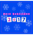 pf 2017 - text with snowflakes vector image vector image