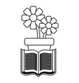 potted flowers and book vector image