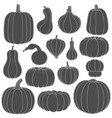 set black and white silhouettes with pumpkins vector image