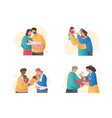 set cute couples holding newborn baby on white vector image vector image