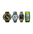 set mens wristwatches vector image vector image