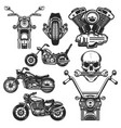 set motorcycle design elements for logo label vector image vector image