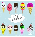 Set of cute cartoon ice creams in japan kawaii vector image vector image