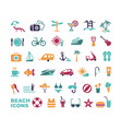 set of flat beach icons vector image