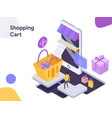 shopping cart isometric modern flat design style vector image