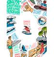 surf poster vintage surfer banner retro wave vector image vector image