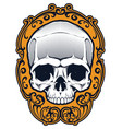 tattoo skull in frame vector image
