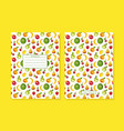 textbook cover decorated with funny fruit vector image vector image