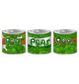 three cans of peas with different logo vector image vector image
