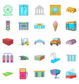 urban entertainment icons set cartoon style vector image vector image