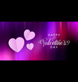 valentines day banner with folded hearts design vector image vector image