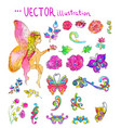 watercolor collection color flowers and vector image vector image