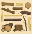 wooden materials tree log cabin isolated vector image vector image