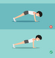 wrong and right plank posture vector image vector image