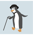 Old fashioned dancing penguin in comic hat vector image