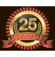25 years anniversary golden label with ribbons vector image vector image