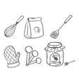 a doodle set of kitchen utensils baking powder