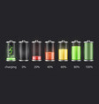 battery charge status set accumulator indicator vector image