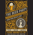 beer party poster vintage style vector image vector image