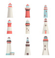 big set cartoon flat lighthouses isolated on white vector image vector image