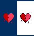 broken love heart wedding icons flat and line vector image vector image