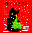 christmas black cat vector image