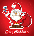 Christmas card with Santa and gift vector image vector image