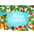 christmas greeting card with xmas tree gift frame vector image vector image