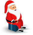 Christmas smiling Santa Claus character sitting on vector image vector image