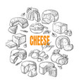 circular background of different cheese top view vector image vector image
