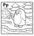 coloring book colorless alphabet letter p penguin vector image vector image