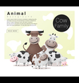 Cute animal family background with Cows vector image