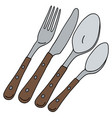 cutlery with wooden handle vector image