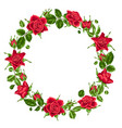 decorative wreath with red roses beautiful vector image vector image