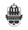 Diving underwater logo black and white vector image