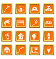 fireman tools icons set orange vector image vector image