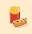 french fries in paper box and hot dog with mustard vector image