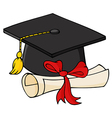 Graduate Black Cap With Diploma vector image vector image