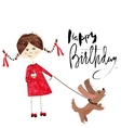 Greeting card for birthday with girl and puppy on vector image vector image