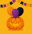 halloween card with pumpkin and balloons party vector image