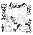 hand drawn sweets doodle set sketches sweets vector image vector image