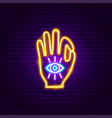 hand vision neon sign vector image vector image