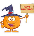 happy witch pumpkin character holding a blank sign vector image vector image