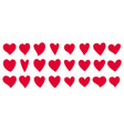 heart love romantic valentine day wedding icon set vector image