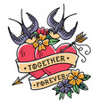 hearts pierced by arrowtattoo together forever vector image vector image